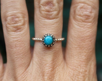 Turquoise Ring, Sterling Silver Turquoise Ring, 925, Gemstone Ring, Copper Turquoise, Turquoise Stone, Solitaire, Bohemian Jewelry, Size 7