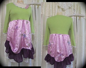 Purple Green Sweater, womens upcycled clothing, boho sweater top, altered couture artisan creation, lilac lime, embroidered satin, MEDIUM