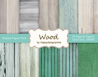 "Vintage Old Wood Board Digital Paper Pack of 10, 300 dpi, 12""x12"" Instant Download Pattern Paper Scrapbooking, Invites, Cards JPG"