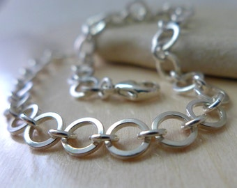 Link Silver Bracelet, Handmade Chain, Linked Artisan Chain, Rustic Bracelets, Organic Silver Links, Classic Light Sturdy, Bea Link Bracelet