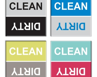 Guajolote Prints Clean Dirty Dishwasher Magnet Assorted Colors 4-Pack