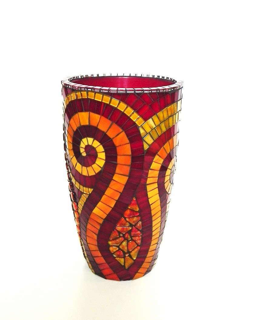 Mosaic art large stained glass mosaic vase on ceramic in red zoom reviewsmspy