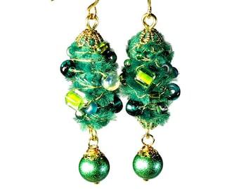 Unique Artsy Emerald Green  Earrings, Dangle Earrings,  Fiber Art Jewelry, Wearable Art, Handmade
