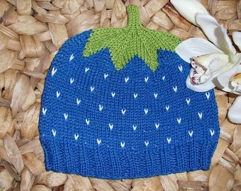 Sweet Fruit Strawberry Hat - Blueberry - pure cotton - many sizes
