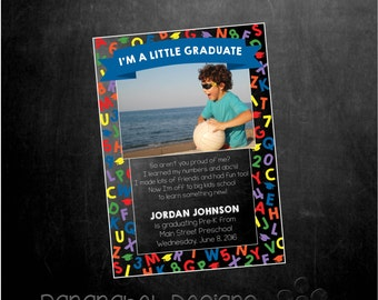 Preschool Kindergarten Graduation Announcement with Photo, ABC, Primary Colors