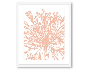 Flower Wall Art, Modern Flower Print, Flower Artwork, Floral Print, 8x10 on 8.5x11, Frame not included, Custom Color