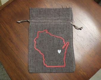 Wisconsin Muslin Drawstring Bag