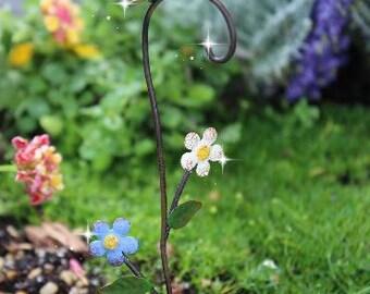 Fairy garden shepherds hook, miniature shepherd hook, flower hook, butterfly hook, fancy shepherds hook, shepherd's hook
