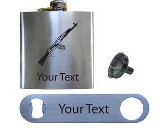 Personalized Engraved Ak47 6 Oz Stainless Steel Pocket Hip Flask + Bottle opener + Funnel