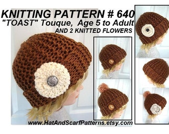 Knitting Pattern Hat with Rolled Flower Unisex hat for Boys or Girls, men, women,  Age 5  to Adult sizes included. #640 digital downloads
