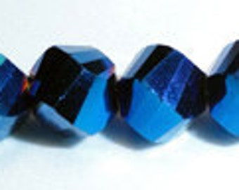 12pc - 6mm Thunder Polish Crystal Bermuda Blue 2X Helix Twist Shape Spacer Beads