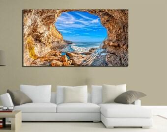 modern paintings canvas 100x50 canvas nature sea rocks celeste