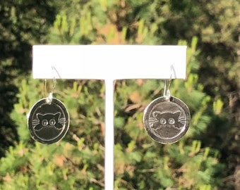 Sterling Silver Etched Kitty Earrings