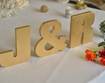 Wooden letters INITIALS top table wedding sign. Home decor initials. Wall sign your names first letters. Glitter INITIALS.