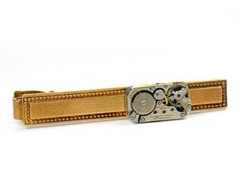 steampunk Vintage Gruen Watch Brass Tie Bar Alligator Clip