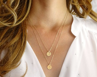 Layered initial necklaces - gold layering necklace - layering necklaces set of 2 - personalized necklace - two initials