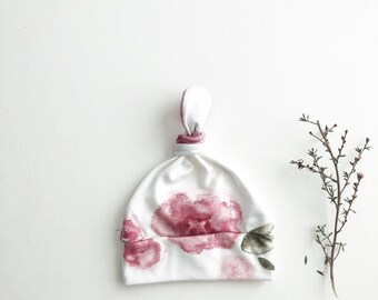 Beanie/Hat - Infant Knot Beanie in the Original Organic Cotton Watercolor Floral Knit