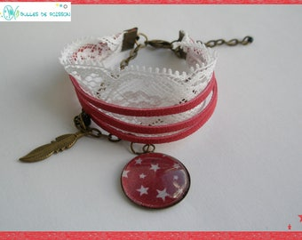 "Child bracelet ""small star and feather"" for girl"
