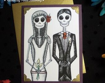 Bride + Groom in 'Gilded Plum' / Calavera Wedding Handmade Greeting Card