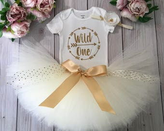 Gold wild One Baby Girl 1st Birthday Outfit   Baby Tutu   Tutu Dress   Birthday Dress   Baby Girls Cake Smash Outfits   Birthday Tutu