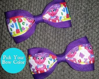 Sesame Street Abby Cadabby Handmade Pigtail Bow Set 3 inches