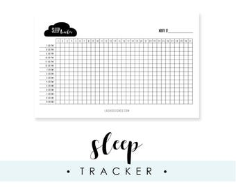 Sleep Tracker for A5 Planner or Bullet Journal, Printable, Instant Download, Track Your Sleep, Calligraphy, Black and White, Gift for Her