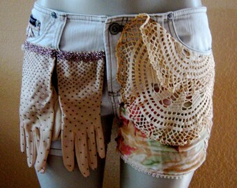 Cream shorts boho gypsy vintage gloves upcycled doily velvet Medium