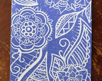 Handprinted Zentangle Linocut Card