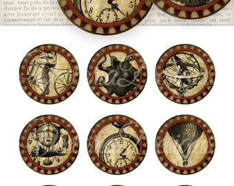 12 Steampunk Circles 2 inch instant download printable images digital collage sheet VD0664