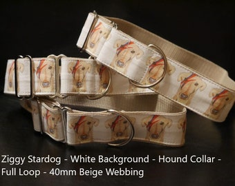 Hound House Collar Full Loop Martingale Greyhound Dog Collar Ziggy Stardust Bowie Fan Bespoke Handmade limited edition Lurcher Whippet