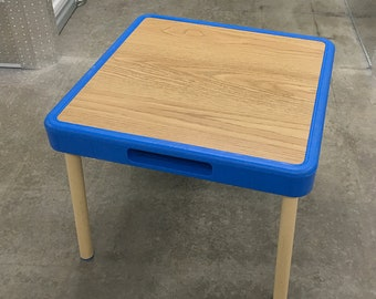 1985 Fisher Price Child Sized Table Blue Trim Faux Wood Top VTG