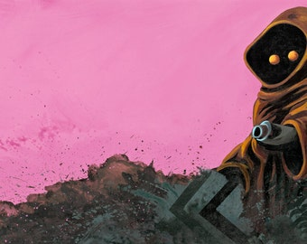 Digital Print of JAWA on pink with forest and spatter patterns from Star Wars from original acrylic artwork 8x17