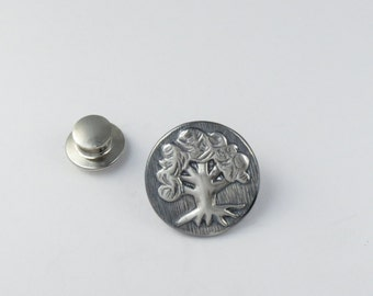 Magic:The Gathering Inspired Lapel Pin in Sterling Silver- Green Mana