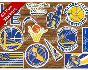 63 GOLDEN STATE WARRIORS Fun Stickers