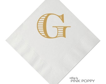 Letter G Monogrammed Initial Napkin Beverage Napkin 25 Styles Available - Foil - Personalized Napkin - Wedding Napkin - Monogrammed Napkin