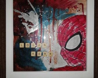 Mixed Media Name Frame - Spiderman