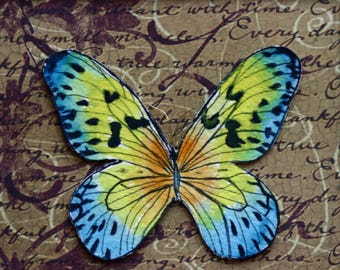 Original watercolor butterfly, raised image, printed page, yellow, blue, matted, small square art, ink, bathroom art, colorful, spring