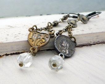 antique rosary earrings, asymmetrical