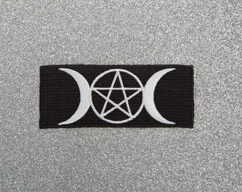 Pentagram and Moon Patch - Made with Vegan Iron-On Adhesive - Embroidery Sewing DIY Customise Denim Cute Wicca Gothic Crescent Witch Black