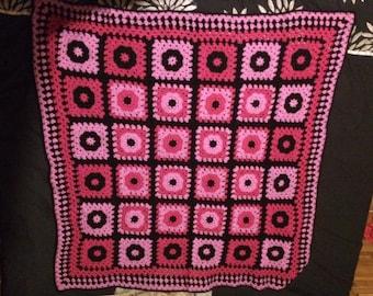 Crochet afghan two pinks/black
