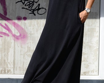 Dress kaftan summer, women's black dress, maxi dress, long dress women, black pocket dress, casual dress, everyday dress, plus size S - 4XL