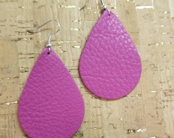 Hot Pink Leather Teardrop earrings. Light weight. Nickle free. Hypoallergenic. Med 2 1/4 inches
