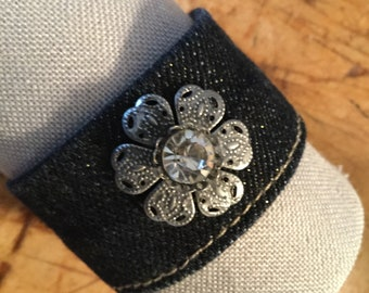 Recycled Denim  & Flower Cuff/Bracelet