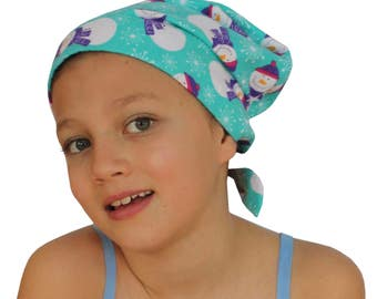Jaye Children's Flannel Head Cover, Girl's Cancer Headwear, Chemo Scarf, Alopecia Hat, Head Wrap, Cancer Gift for Hair Loss - Snowmen