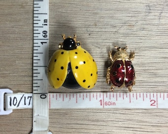 Vintage Pair Gold Toned Pins Lady Bug Yellow Black Red Enamel Used