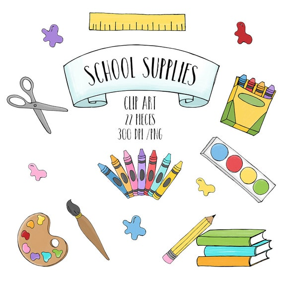 School supplies clipart back to school clipart educational school supplies clipart back to school clipart educational clipart hand drawn small commercial or personal use from sunnyduran on etsy studio voltagebd Image collections