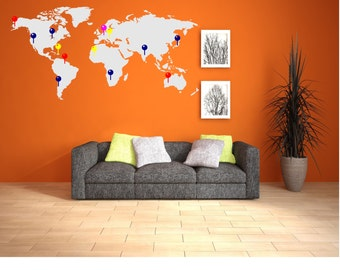 World map markers travel places vinyl decal sticker world map wall decal with markers map with markers world map with markers gumiabroncs Images