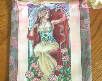 Drawstring Bag Lady of January Art Nouveau Birthstone Series Goddess Persephone with Carnations Mucha Style Tarot Deck Cosmetic Makeup Bag