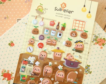 Suatelier GAMJA Little Potato Puffy scrapbooking diary stickers