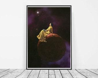Mustard yellow art, yellow decor, purple and yellow prints, Retro print, Vintage decor, Space art, Feminist art